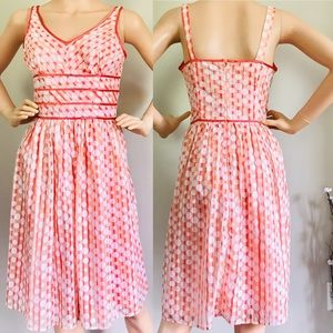 NWOT Robbie Bee Polka Dot Dress Coral and White